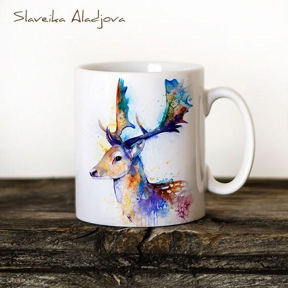 Fallow deer Mug Watercolor Ceramic Mug Unique Gift Coffee Mug Animal Mug Tea Cup Art Illustration Cool Kitchen Art Printed mug