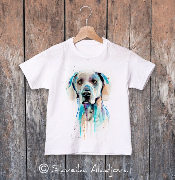 Weimaraner watercolor kids T-shirt, Boys' Clothing, Girls' Clothing, ring spun Cotton 100%, watercolor print T-shirt, T shirt art