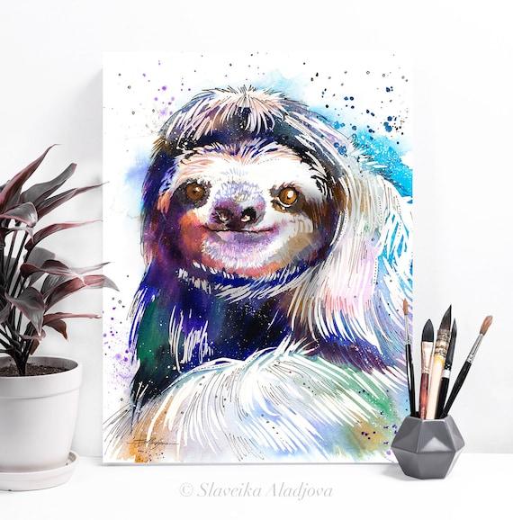 Three-toed sloth watercolor painting print by Slaveika Aladjova, art, animal, illustration, home decor, Nursery, gift, Wildlife, wall art