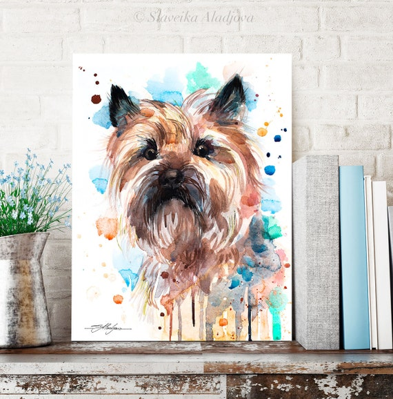 Cairn Terrier watercolor painting print by Slaveika Aladjova, animal, illustration, home decor, Nursery, Contemporary, dog art, wall art