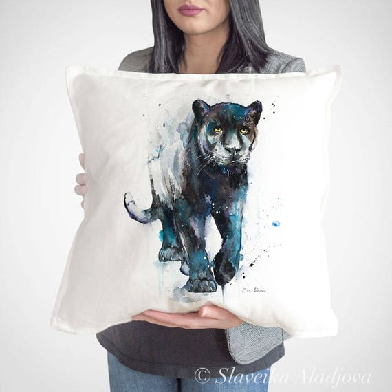Black panther throw pillow cover by Slaveika Aladjova, cushion cover, Decorative Pillow Cover, Animal Art, Watercolor pillow, Christmas gift