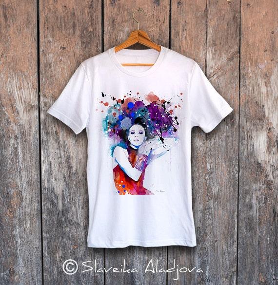 Colorful Girl  T-shirt, Unisex T-shirt, ring spun Cotton 100%, watercolor print T-shirt, T shirt art, T shirt animal, XS, S, M, L, XL, XXL