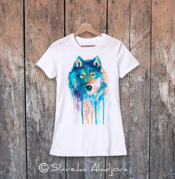 Wolf T-shirt, Ladies' T-shirt with wolf print, women's tees, Wolf Lover Gift idea, Graphic tee, ring spun Cotton 100%