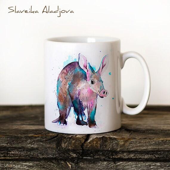 Aardvark Mug Watercolor Ceramic Mug Unique Gift Coffee Mug Animal Mug Tea Cup Art Illustration Cool Kitchen Art Printed