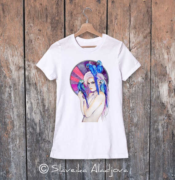 Girl with Parrots watercolor ladies' T-shirt, women's tees, Teen Clothing, Girls' Clothing, ring spun Cotton 100%, watercolor print