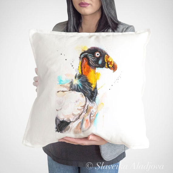 King Vulture, Decorative Pillows case, Watercolor, Unique Gift, Cushion Cover, Art Illustration, Cool Bird Pillow for Home Decor