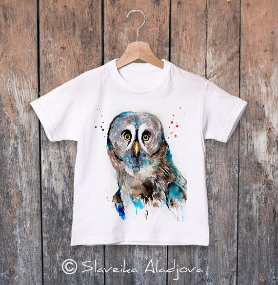 Great grey watercolor kids T-shirt, Boys' Clothing, Girls' Clothing, ring spun Cotton 100%, watercolor print T-shirt, T shirt art