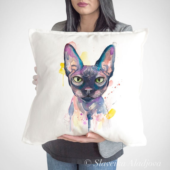 Sphynx cat throw pillow cover by Slaveika Aladjova, cushion cover, Decorative Pillow Cover, Animal Art, Watercolor pillow, Christmas gift
