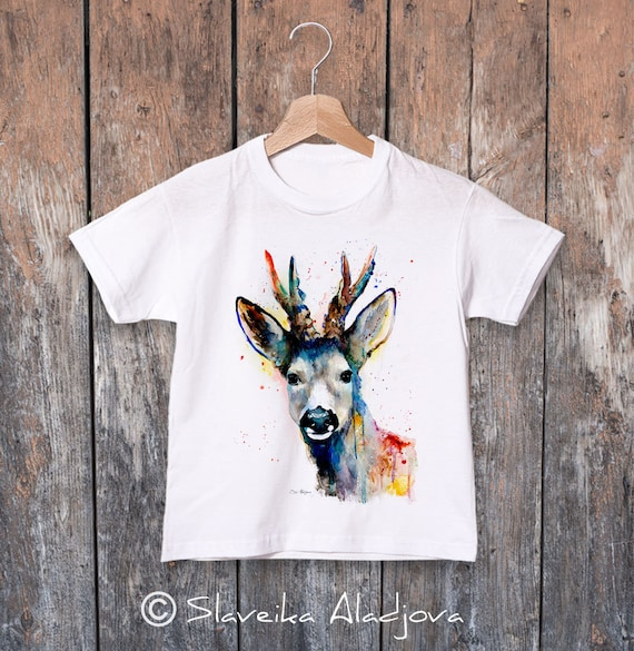 Deer watercolor kids T-shirt, Boys' Clothing, Girls' Clothing, ring spun Cotton 100%, watercolor print T-shirt,T shirt art