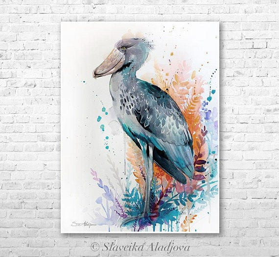 Original Watercolour Painting- Shoebill art, animal, illustration, animal watercolor, animals paintings, animals, portrait,