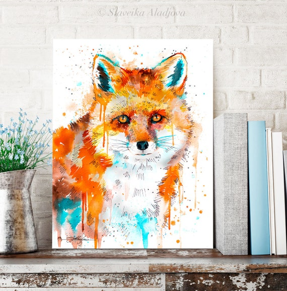 Red Fox watercolor painting print by Slaveika Aladjova, art, animal, illustration, home decor, Nursery, gift, Wildlife, wall art