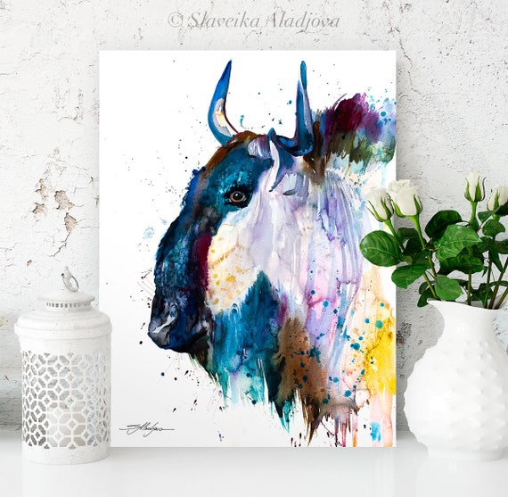 Wildebeest Gnu watercolor painting print by Slaveika Aladjova, art, animal, illustration, home decor, Nursery, gift, Wildlife, wall art