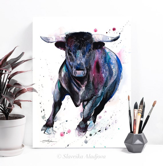 Black Bull watercolor painting print by Slaveika Aladjova, art, animal, illustration, home decor, Nursery, gift, Wildlife, wall art