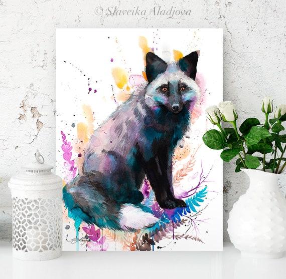 Silver fox watercolor painting print by Slaveika Aladjova, art, animal, illustration, home decor, Nursery, gift, Wildlife, wall art,