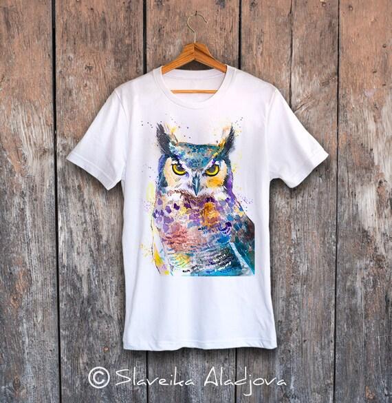 Owl T-shirt, Horned Owl unisex T-shirt, Unisex tees, Bird Lover Gift, watercolor print tee, ring spun Cotton 100%, Colourful print