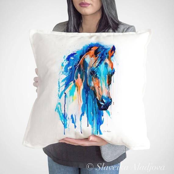 Horse throw pillow cover by Slaveika Aladjova, cushion cover, Decorative Pillow Cover, Animal Art, Watercolor pillow, Christmas gift