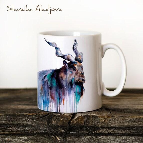 Goat 2 Mug Watercolor Ceramic Mug Unique Gift Coffee Mug Animal Mug Tea Cup Art Illustration Cool Kitchen Art Printed mug