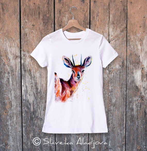 Steenbok watercolor ladies' T-shirt, women's tees, Teen Clothing, Girls' Clothing, ring spun Cotton 100%, watercolor print