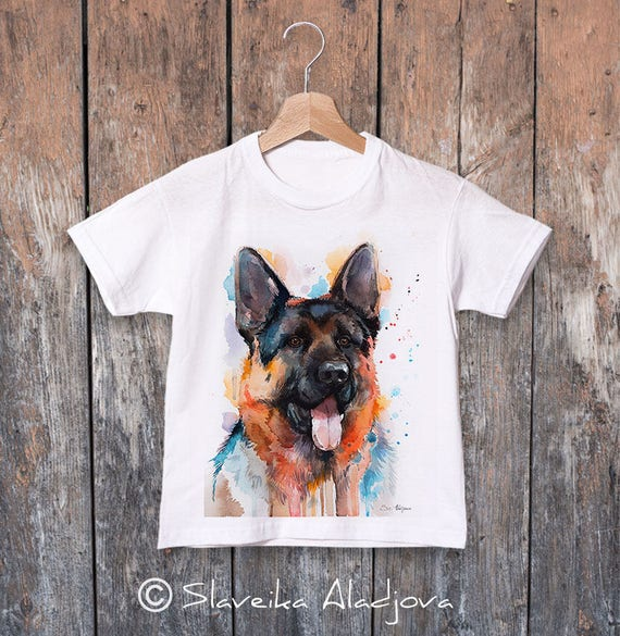 German Shepherd T-shirt, dog t-shirt, kids T-shirt, Boys' Clothing,Girls' Clothing, ring spun Cotton 100%, watercolor print T-shirt