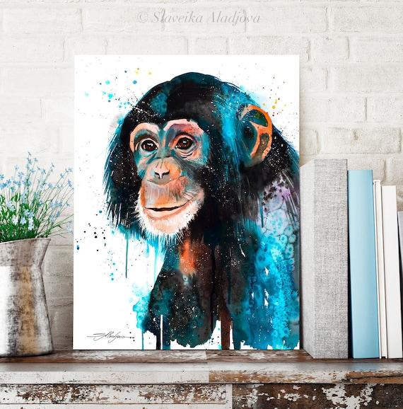 Baby Chimp Chimpanzee watercolor painting print by Slaveika Aladjova, art, animal, home decor, wall art, gift,portrait, Contemporary, monkey