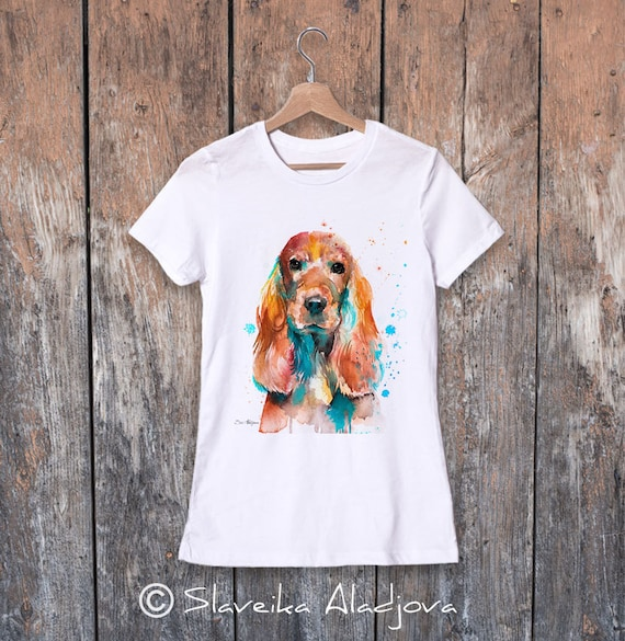 English Cocker Spaniel watercolor ladies' T-shirt, women's tees, Teen Clothing, Girls' Clothing, ring spun Cotton 100%, watercolor print