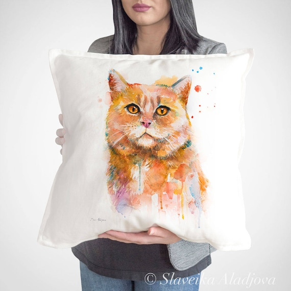 Cat throw pillow cover by Slaveika Aladjova, cushion cover, Decorative Pillow Cover, Animal Art, Watercolor pillow, Christmas gift