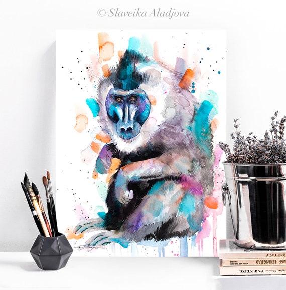 Drill Monkey watercolor painting print by Slaveika Aladjova, art, animal, illustration, bird, home decor, Nursery, Wildlife, monkey