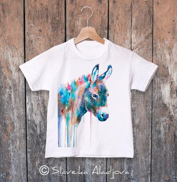 Donkey T-shirt, Colourful Watercolor print, Boys'  T-shirt, Girls' tees, Donkey Lover Gift, Funny Donkey T-Shirt, ring spun Cotton 100%