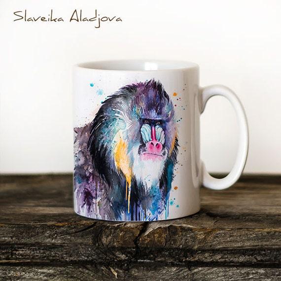 Mandrill Mug Watercolor Ceramic Mug Unique Gift Coffee Mug Animal Mug Tea Cup Art Illustration Cool Kitchen Art Printed