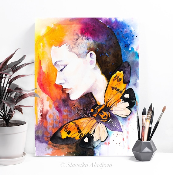 Girl Butterfly watercolor painting print by Slaveika Aladjova, Fashion Illustration, Woman art, Illustration, watercolour, home decor