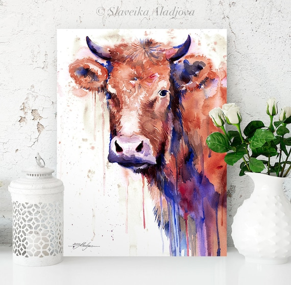 Brown cow watercolor painting print by Slaveika Aladjova, art, animal, illustration, home decor, Nursery, gift, Wildlife, wall art, farm