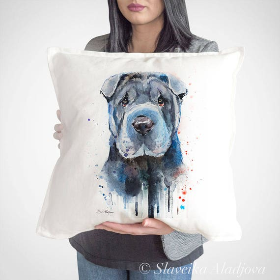 Shar Pei throw pillow cover by Slaveika Aladjova, cushion cover, Decorative Pillow Cover, Animal Art, Watercolor pillow, Christmas gift