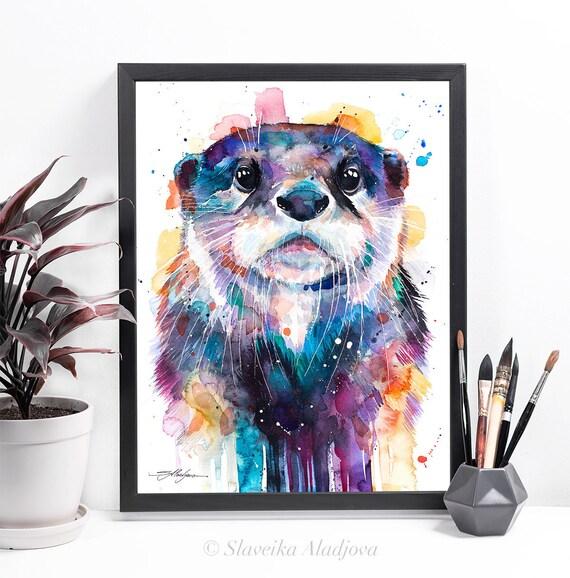 Otter watercolor framed canvas by Slaveika Aladjova, Limited edition, art, animal watercolor, animal illustration,bird art