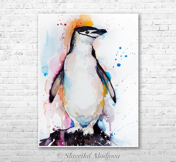 Chinstrap penguin watercolor painting print by Slaveika Aladjova, animal, illustration, Sea art, sea life art, nautical, ocean art, bird