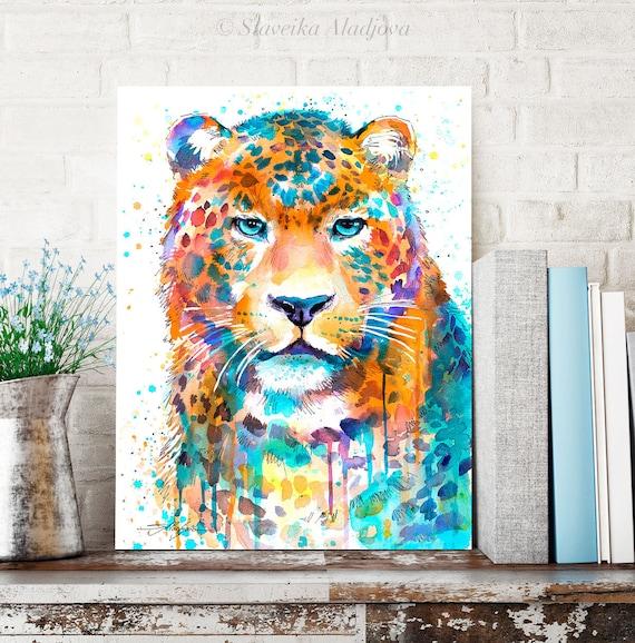 Panther Leopard Jaguar watercolor painting print by Slaveika Aladjova, art, animal, illustration, home decor, Nursery, Wildlife, wall art