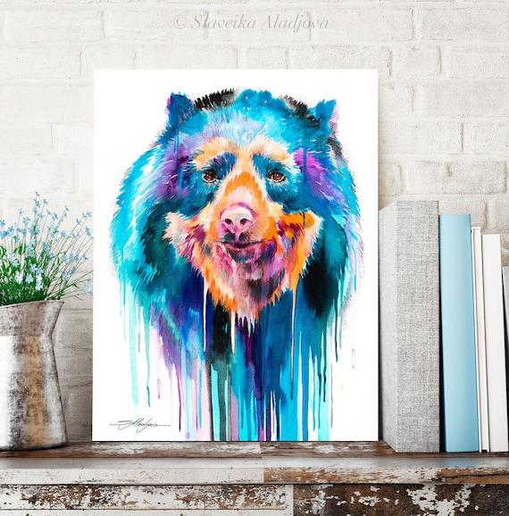Spectacled bear watercolor painting print by Slaveika Aladjova, art, animal, illustration, home decor, Nursery, gift, Wildlife, wall art