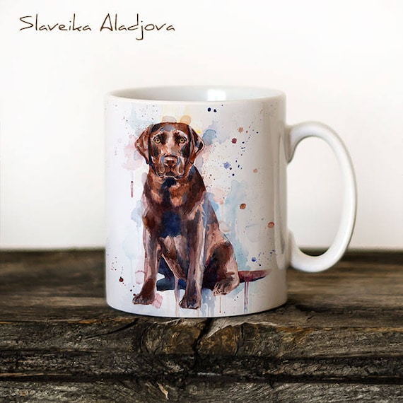 Chocolate Labrador Mug Watercolor Ceramic Mug Unique Gift Coffee Mug Animal Tea Cup Art Illustration Cool Kitchen Art Printed mug dog