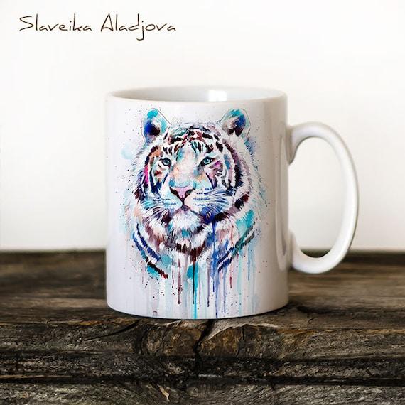 White Tiger Mug Watercolor Ceramic Mug Unique Gift Coffee Mug Animal Mug Tea Cup Art Illustration Cool Kitchen Art Printed mug