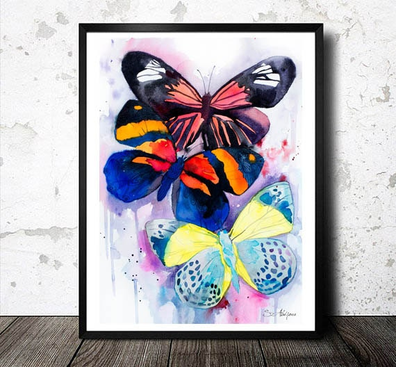 Original Watercolour Painting-Butterflies , animal, illustration, animal watercolor, animals paintings, animals, portrait,