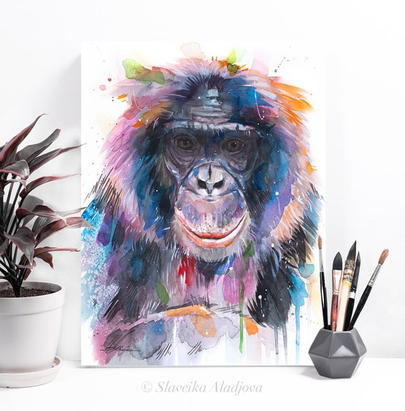 Bonobo, Pygmy chimpanzee, Monkey watercolor painting print by Slaveika Aladjova, art, animal, illustration, home decor, Nursery, Wildlife