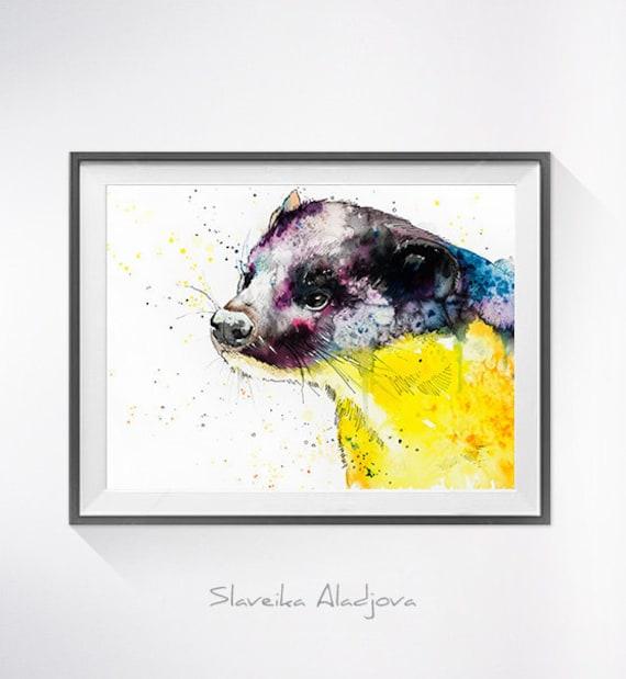Original Watercolour Painting- Yellow-throated marten art, animal, illustration, animal watercolor, animals paintings, animals, portrait,