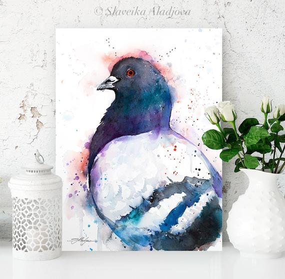 Pigeon watercolor painting print by Slaveika Aladjova, animal, illustration, wall art, Giclee Print, farm, portrait, bird,