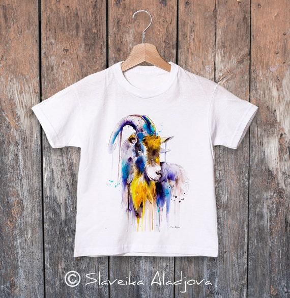 Goat watercolor kids T-shirt, Boys' Clothing, Girls' Clothing, ring spun Cotton 100%, watercolor print T-shirt, T shirt art