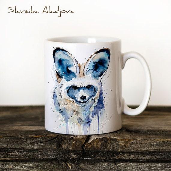Bat-eared fox  Mug Watercolor Ceramic Mug Unique Gift Coffee Mug Animal Mug Tea Cup Art Illustration Cool Kitchen Art Printed mug dog