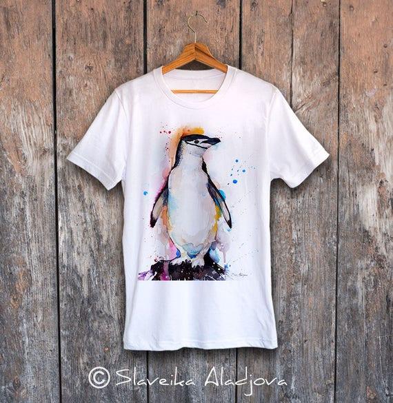 Chinstrap penguin T-shirt, Unisex T-shirt, ring spun Cotton 100%, watercolor T-shirt, T shirt art, T shirt animal, XS, S, M, L, XL, XXL