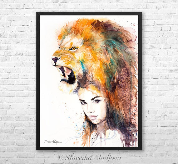 Lion Girl watercolor framed canvas by Slaveika Aladjova, Limited edition, art, watercolor, animal illustration,bird art