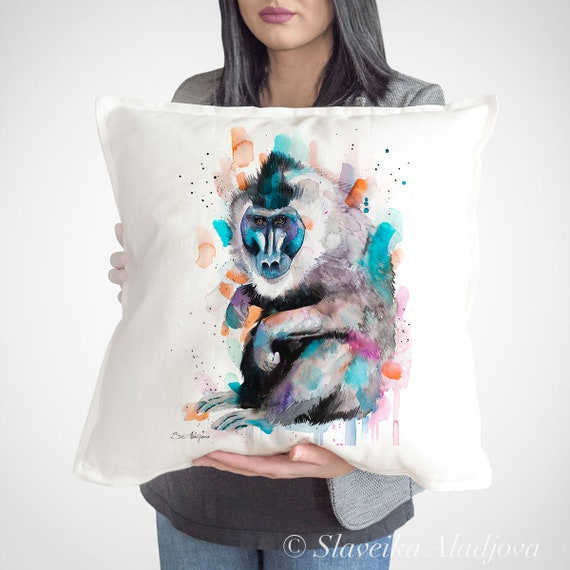 Drill Monkey throw pillow cover by Slaveika Aladjova, cushion cover, Decorative Pillow Cover, Animal Art, Watercolor pillow, gift