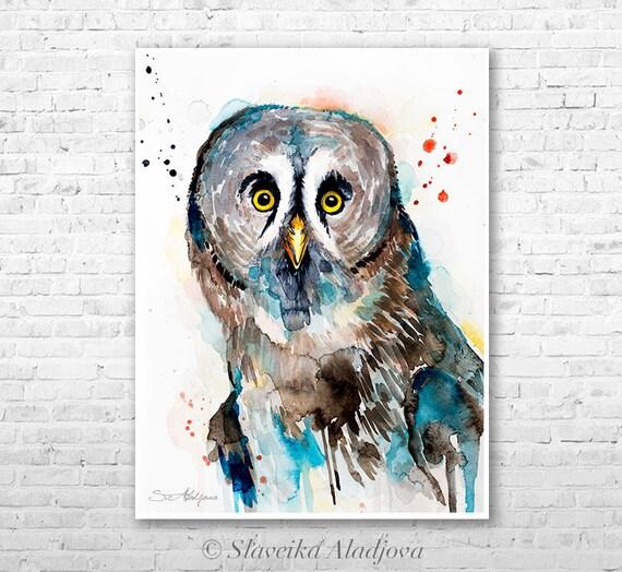 Great grey owl watercolor painting print by Slaveika Aladjova, art, animal, illustration, bird, home decor, wall art, Wildlife, Contemporary