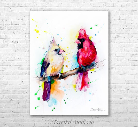 Cardinals watercolor painting print by Slaveika Aladjova, art, animal, illustration, bird, home decor, wall art, gift, farm