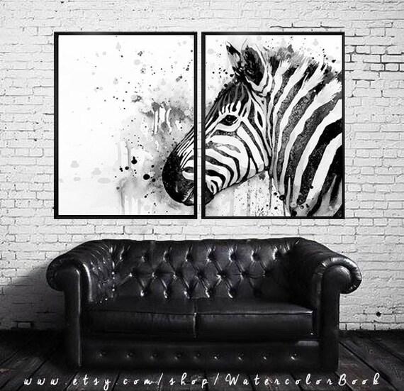 Black & White Zebra watercolor painting print, Zebra art, animal watercolor, animal illustration,Zebra illustration,Zebra poster,art print